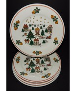 4 Direct Source Int'l Christmas Village Scene Holly Bells Sleigh Salad P... - $29.69