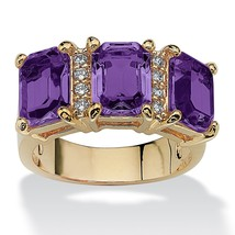 Birthstone and CZ 14k Gold-Plated Ring-February-Simulated Amethyst - $33.94
