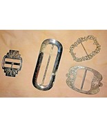 Lot of 4 Vintage Metal Ribbon Slides Belt Buckles Shiny Rhinestones FUN! - $18.32
