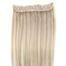 YoungSee 14inch Remy Human Hair Halo Extensions with Clips Dark Ash Brown with G image 6