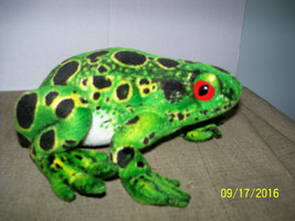 plush green frog toad stuffed animal black spotted red eyes realistic - $19.80