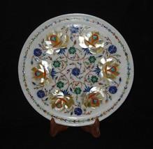 "12"" Marble Floral Plate Paua Shell Handmade Pietra Dura  Marquetry Decor Art - $187.65"