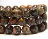 8mm Leopard Skin Jasper Beads Dark Round Sea Sediment Snake Skin B-7D - £15.29 GBP