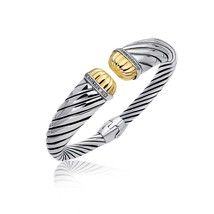 18k Yellow Gold and Sterling Silver Diamond Decorated Cuff Bangle (.11 cttw) - $917.93