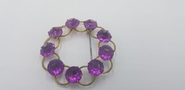 Vintage Gold Tone Wreath Design Pin / Brooch With Purple Amethyst Stones... - $34.84