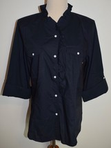 New Talbots Sz 16 Shirt Blue Button Front Convertible Sleeve Ruffle Cotton Top - $23.35