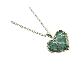 Turquoise Crystal Stone Hearts Necklace - $12.95