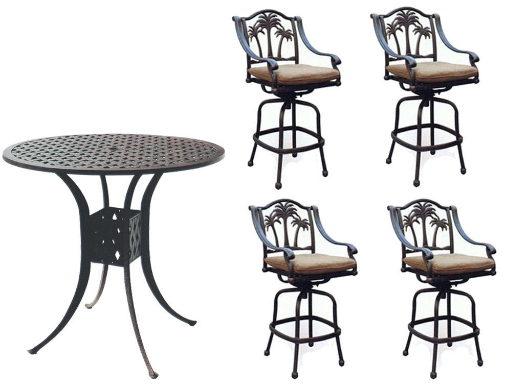 Patio bar set with Palm tree swivel chairs 5pc cast aluminum Nassau furniture