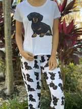 Dog Black Dachshund Wiener pajama set with pants for women - $35.00