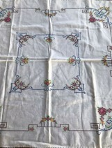 Vintage Cross Stitch Linen Tablecloth Table topper 31 x 31 flowers geome... - $13.99