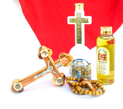 New 4 items set from Jerusalem Holy Land - Oil /Water/Olive Wood Cross /... - $34.77