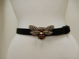 Gucci Golden Bee Black Leather Belt New Size 85cm - $899.00