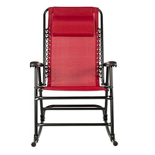 Folding Rocking Chair Red Patio Sling Back Lawn Zero Gravity Yard Camp Furniture
