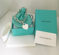 Tiffany & Co Sterling Silver Blank Heart Tag Charm Bracelet with Box Pouch - $235.00