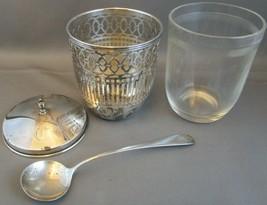 Antique Watson Sterling Silver MUSTARD/JELLY/JAM/Sugar W75 Spoon & Glass Insert - $193.99