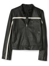 Gap Women's Leather Biker Jacket, Black, Fully Lined, Size L, NWT - $448.20