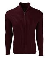 Full Zip Cotton Ribbed Mock Neck Sweater for Men - $36.89+