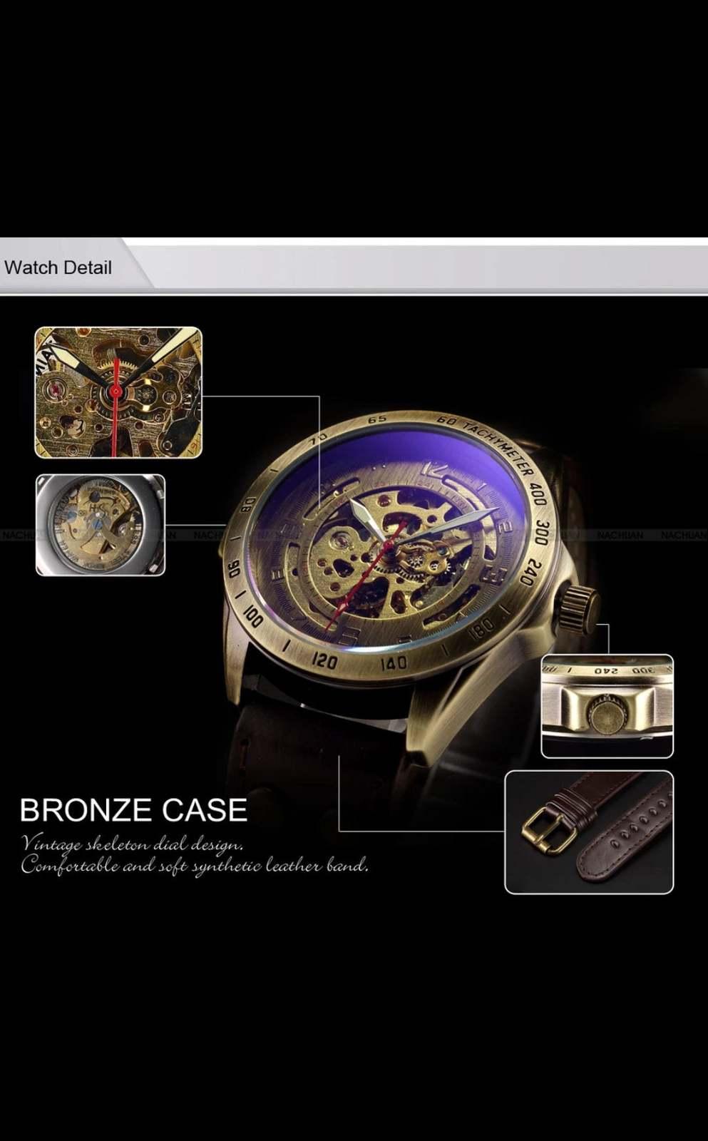 Luxury Vintage Retro Automatic Mechanical Watch- Automatics Self-Wind- Antique w image 6