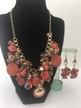 Vintage Orange Statement Necklace and Earrings Set with Shells and Beads - $10.44