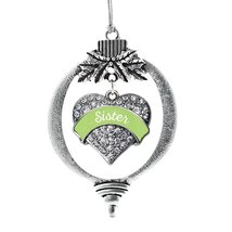 Inspired Silver Sage Green Sister Pave Heart Holiday Christmas Tree Ornament Wit - $14.69