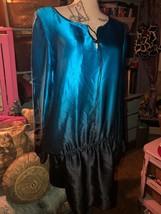 SCOOP BEACH Regal Cobalt Blue + Midnight Black Ombre Silk Dress Size M image 2