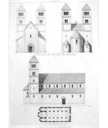 GERMANY Church at Altenstadt Facades Plan - Antique Print Engraving - $12.15