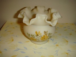 Fenton Hand Painted Daisies On Cameo Vase - $17.99