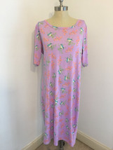 Lularoe XL Extra Large Purple Blue Jay Bird Pink Flower Julia Dress Womens - $34.99