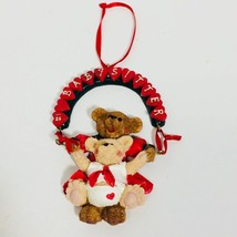 Kurt Adler Holly Bearies #1 BABYSITTER Heart Wreath Swing Christmas Orna... - $12.99