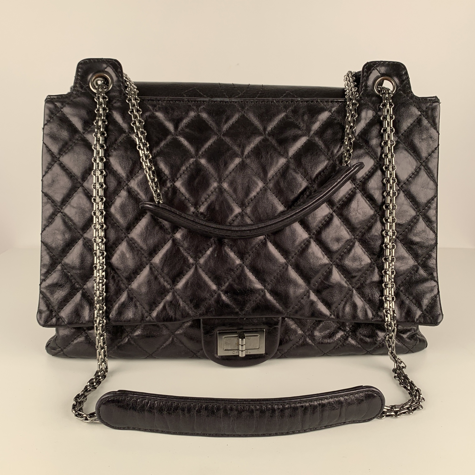 Authentic Chanel Black Quilted Leather Large Reissue 2.55 Accordion Flap Bag image 7