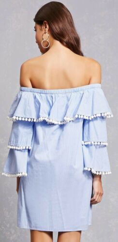Forever 21 Blue & White Striped Tiered Ruffle Pom Pom Off The Shoulder Dress M image 4