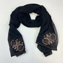 Embroidered Beaded Wrap Scarf Women's One Size Fits All Black Silk Blend... - $17.99