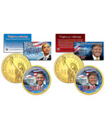 TRUMP & OBAMA U.S Mint Colorized PRESDIENTIAL $1 Dollar Coins + 3rd Coin... - $15.79