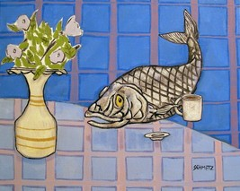 PACIFIC HERRING fish art PRINT poster gift JSCHMETZ modern folk coffee 1... - $23.99
