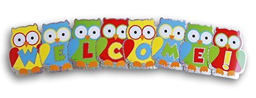Teaching Supply Owl Welcome Cutouts - Class Bulletin Board Office Decor - 8 PC