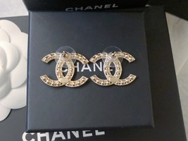 100% AUTH NEW CHANEL 2019 XL Large Gold CC Crystal Stud Earrings image 9
