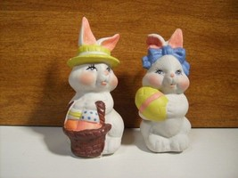 Bunny Bunnies w/Eggs 2 pc Set Easter Hand Painted n106 - $17.99