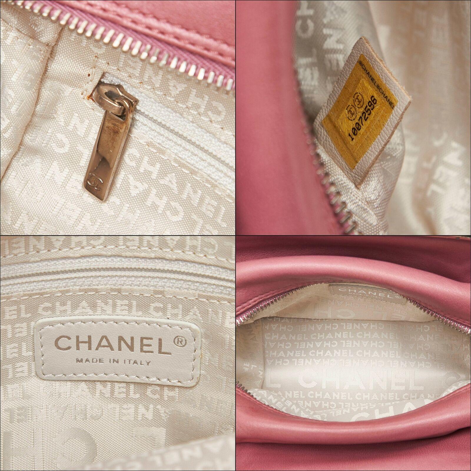 Pre-loved Chanel Pink Lambskin Leather Wild Stitch Handbag Italy
