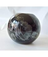 Vintage Fenton Black Amethyst Ball Vase Sterling Hand Painted Signed 80's - $27.71