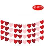 Felt Red Heart Garland Banner NO DIY Valentines day Banner Decor Valentines - $21.08