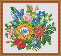 Berlin Woolwork Floral Fusion Antique Bouquet Counted Cross Stitch Patte... - $7.00