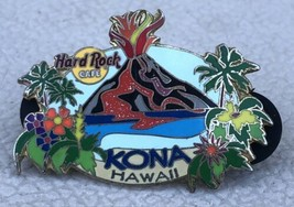 Hard Rock Cafe Pin Kona Hawaii Erupting Volcano Lava Flow Flowers Gold Tone HRC - $14.95
