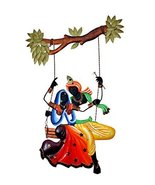 Antique Wall Hanging Radha krishna under Jhula Indian Handmade Home Decor - $128.38