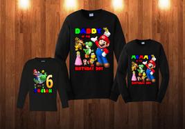 Super Mario Birthday Long Sleeve Shirt Personalized Custom Family Black ... - $24.95+