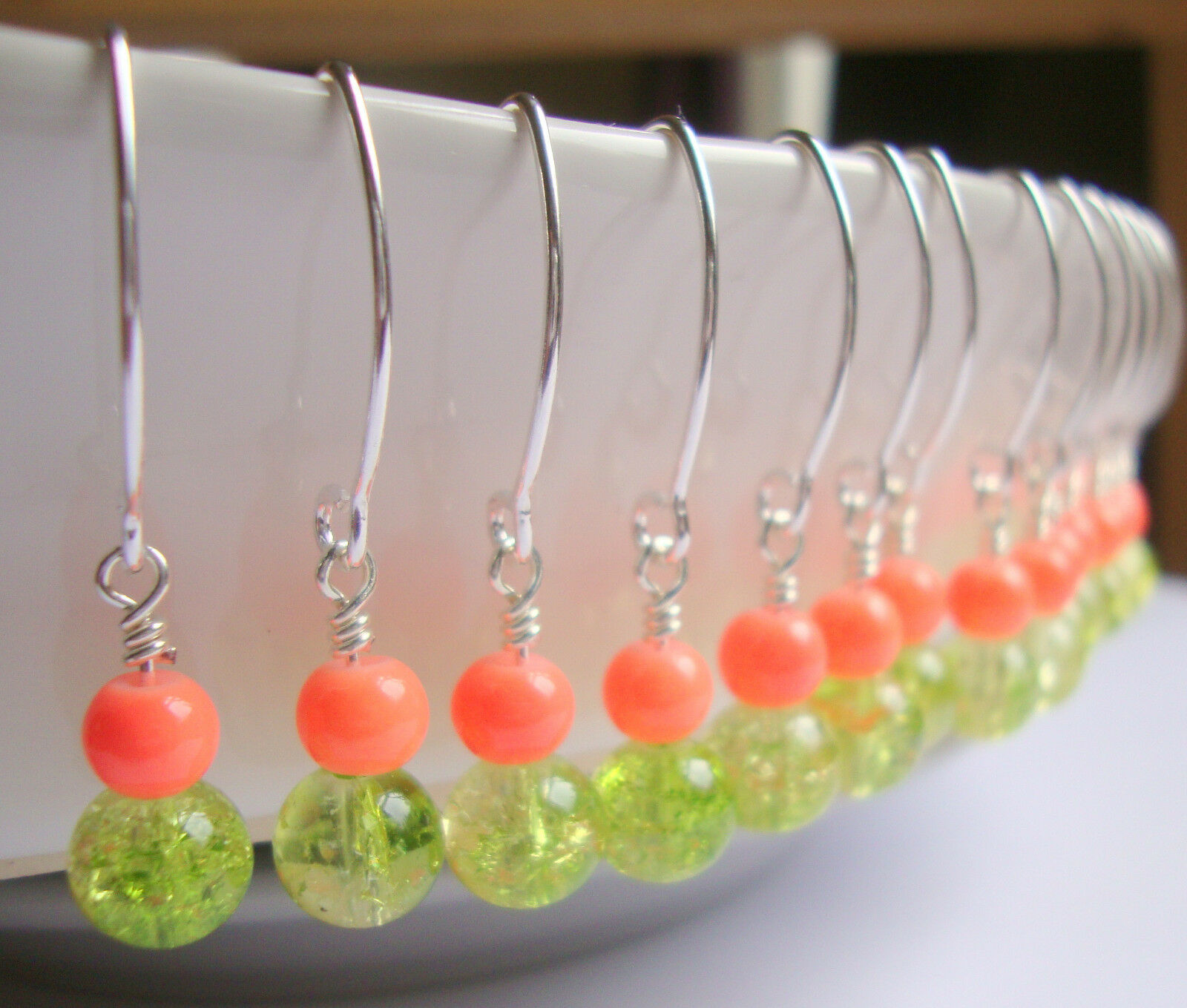 Pink Coral Green Crackle Glass Silver Dangle Earrings Bridesmaid Bridal Resort