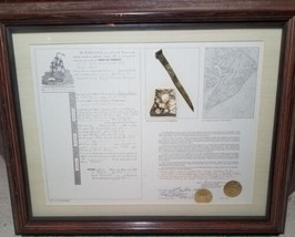 Framed 1854 Shipwreck Artifact Souvenir Delia Marie Hilton Head Brass Spike image 1