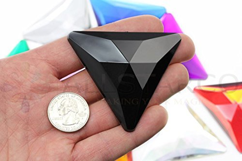 68mm Jet Black H101 Flat Back Triangle Acrylic Gems Pro Grade Individually Wrapp