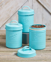 Set of 3 Vintage Metal Canisters - Steel Kitchen Canisters Red Blue or O... - $27.94