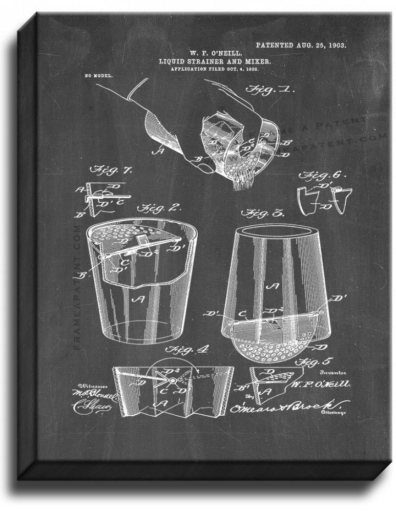 Primary image for Liquid Strainer and Mixer Patent Print Chalkboard on Canvas