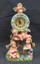Vintage resine Angels pendulum table clock Amour cherub deco - $29.00